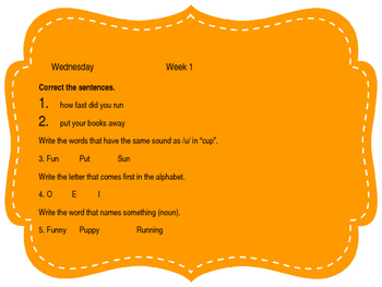 Daily Language Review and Morning Work/ Bell Ringer