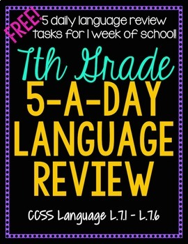 7th Grade Daily Language Review - 1 Week FREE