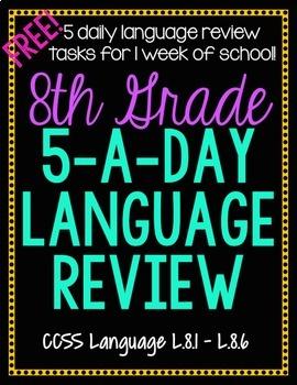 8th Grade Daily Language Spiral Review - 1 Week FREE