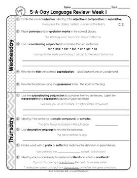 3rd Grade Daily Language Spiral Review- 1 Week FREE