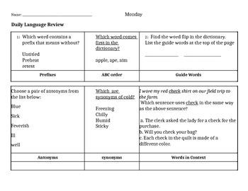 Daily Language Reviews for 3rd grade ( set 1)