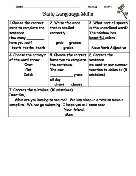 Daily Language Skills Week 1