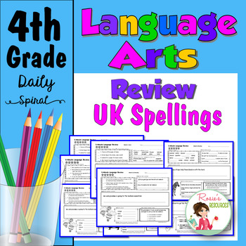 Daily Language Spiral Review Morning Work | Homework - 4th Grade - UK Spellings
