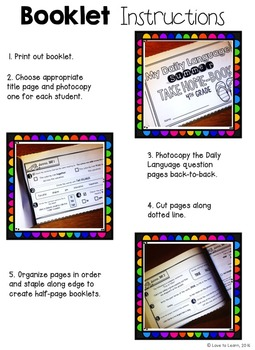 Daily Language Summer Take-Home Booklet Fourth Grade