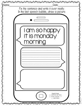 Daily Language Text Messages: Grade 1
