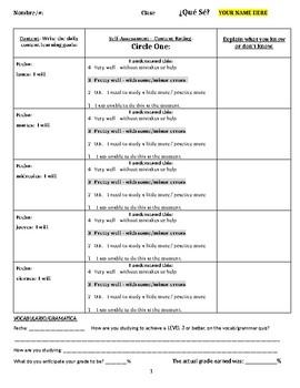 Daily Learning Goal/Self Assessment