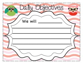Daily Learning Objectives Posters