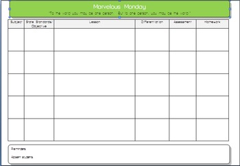daily lesson plan microsoft word template 5 subjects with quotes