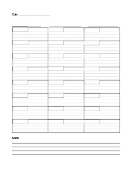Daily Lesson Plan Sheet for 3 Students