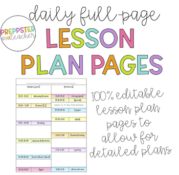 Editable Daily Lesson Plan Template (Binder, Happy Planner, or Spiral Bound)
