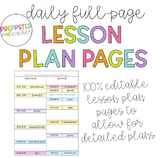 Editable Daily Lesson Plan Template (Binder, Happy Planner