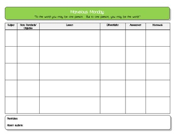 daily five lesson plan template daily lesson plan template 5 subject pdf by lady kay tpt