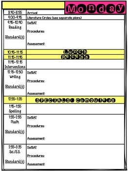 Daily lesson plan template editable by nicole swisher all for Daily five lesson plan template