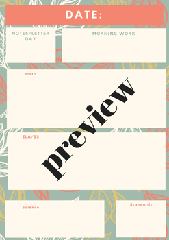 Daily Lesson Plan Template- EDITABLE