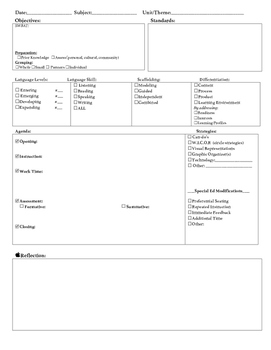 Daily Lesson Plan Template (ELL, SpEd, Differentiation, and Reflection)