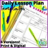 Daily Lesson Plan Template Editable Print or Google Slide