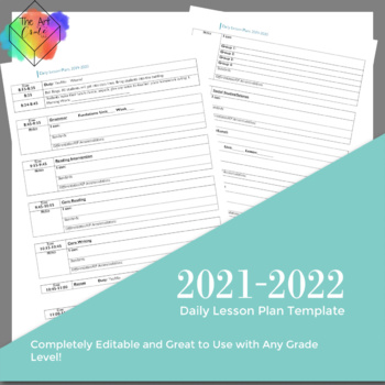 Editable Daily Lesson Plan Template with 2nd grade Standards