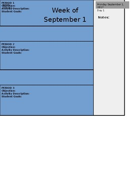 Daily Lesson Planning Page Editable