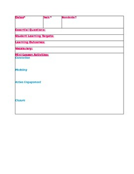 Daily Lesson Planning Template