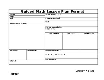 Daily Lesson Planning Template (Horizontal) Editable