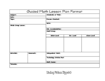 Daily Lesson Planning Template (Horizontal) PDF