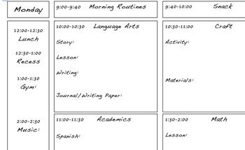 Daily Lesson Schedule