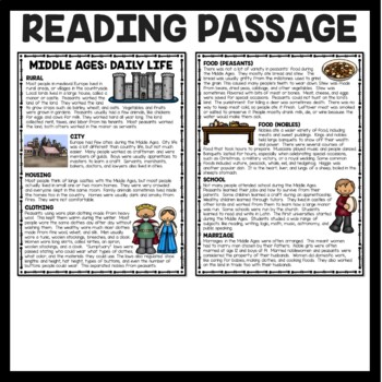Daily Life During the Middle Ages Reading Comprehension, World, European History