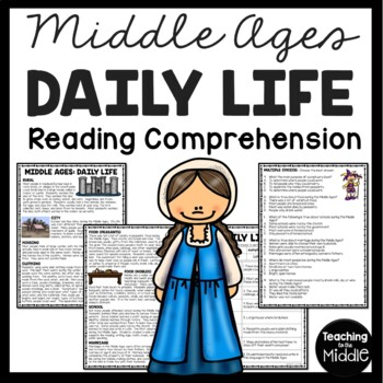 Daily Life During the Middle Ages Article & Questions, Wor