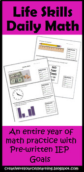 Daily Life Skills Math Special Education IEP Goals