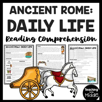 Daily Life in Ancient Rome Reading Comprehension Worksheet; Roman Empire
