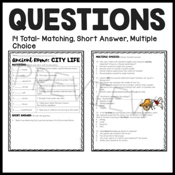 City Life in Ancient Rome Reading Comprehension Worksheet; Roman Empire
