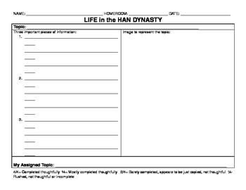 Daily Life in Han Dynasty Organizer Word Document