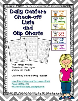Daily Literacy Centers Check-off Sheets and Clip Charts