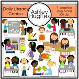 Daily Literacy Centers Clipart {A Hughes Design}