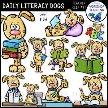 Daily Literacy Dogs Clip Art - Whimsy Workshop Teaching