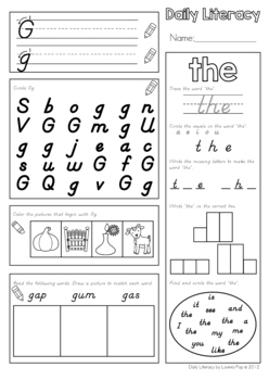 Daily Literacy Morning Work (Sight Words / Beginning Sounds / Reading) D'Nealian