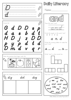 Daily Literacy Morning Work (Sight Words / Beginning Sounds / Reading) D'Nealian