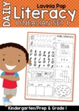 D'Nealian Daily Literacy Morning Work | Sight Words, Beginning Sounds, Reading