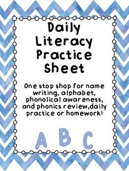 Daily Literacy Practice Sheets CVC - Short A
