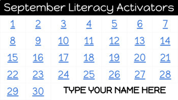 30 DAYS!! Daily Literacy Warm-Up/Activator   September