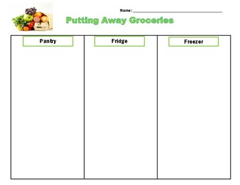 Daily Living/Life Skills: Putting Away Groceries Sorting Activity