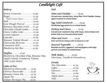 Daily Living/Life Skills: Reading a Menu (Candlelight Cafe)