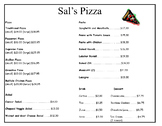 Daily Living/Life Skills: Reading a Menu (Sal's Pizza)