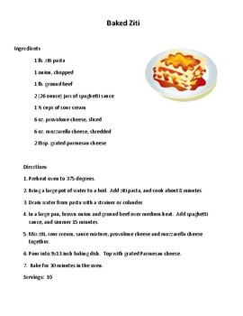Daily Living/Life Skills: Reading a Recipe (Baked Ziti)