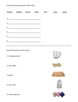 Daily Living Skills: Baked Ziti Recipe and Ques Packet