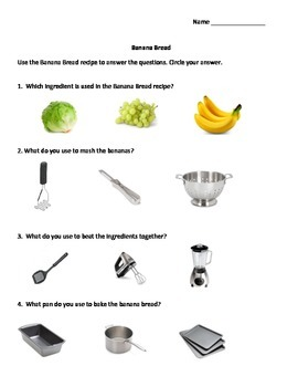 Daily Living Skills: Banana Bread Recipe with Questions