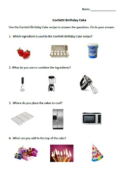 Daily Living Skills: Confetti Birthday Cake Recipe with Questions