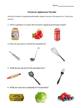 Daily Living Skills: Cinnamon Applesauce Pancake Recipe and Ques Packet