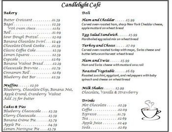 Daily Living Skills: Reading a Menu with questions (Candlelight Cafe)
