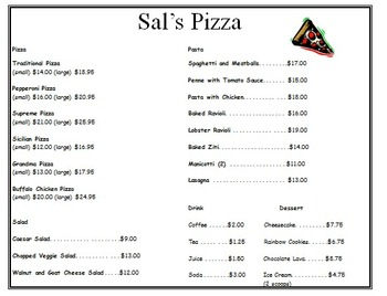 Daily Living Skills: Reading a Menu with questions (Sal's Pizza)